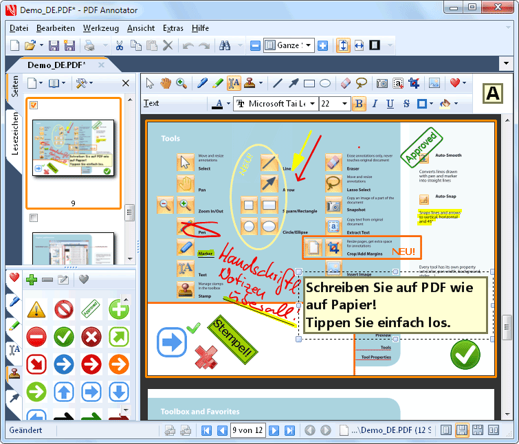 Screenshot vom Programm: PDF Annotator