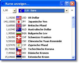 AB-Edit - Kostenloser Währungsrechner - Kursübersicht