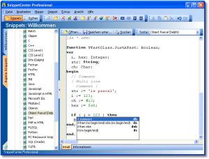 Code Snippets - Code Snippets können Programmcode in verschiedenen Programmiersprachen beinhalten. Durch Angabe der Programmiersprache unterstützt SnippetCenter die farbliche Syntaxhervorhebung von über 30 verbreiteten Programmiersprachen bzw. Textdateiformaten. - Code Snippets