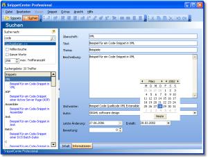 Suchen/Eigenschaften - Snippets können mit Anmerkungen und Zusatzinformationen gespeichert werden. Über die Suchfunktion können Snippets durch Eingabe von Suchbegriffen schnell wiedergefunden werden. Die Volltextsuche ermöglicht auch das Durchsuchen des Inhalts aller Snippets. - Suchen/Eigenschaften