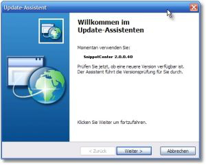 Update-Assistent - Mit dem Update-Assistenten verpassen Sie nie ein Update zu SnippetCenter. - Update-Assistent