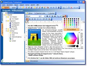 Text Snippets - Text Snippets können formatierten Text und eingebettete Grafiken beinhalten. Das Aussehen und die Struktur des Textes kann wie in einer Textverarbeitung durch Formatierung beeinflusst werden. - Text Snippets