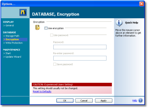 Encryption - To secure your data from unauthorized access, the whole SnippetCenter database can be encrypted using a strong 128-bit encryption. - Encryption