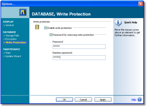 Write Protection - To prevent yourself from accidential modifications of your data, set the SnippetCenter write protection, which can be toggles on and off with a single mouse click. If you want to ensure that your data cannot be edited in any way, set a password on the write protection. - Write Protection